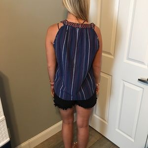 LLove Tops - NWT Navy Embroidered Top